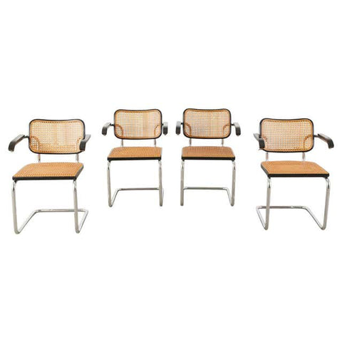 Set of Four Marcel Breuer Cesca B32 Cane Armchairs