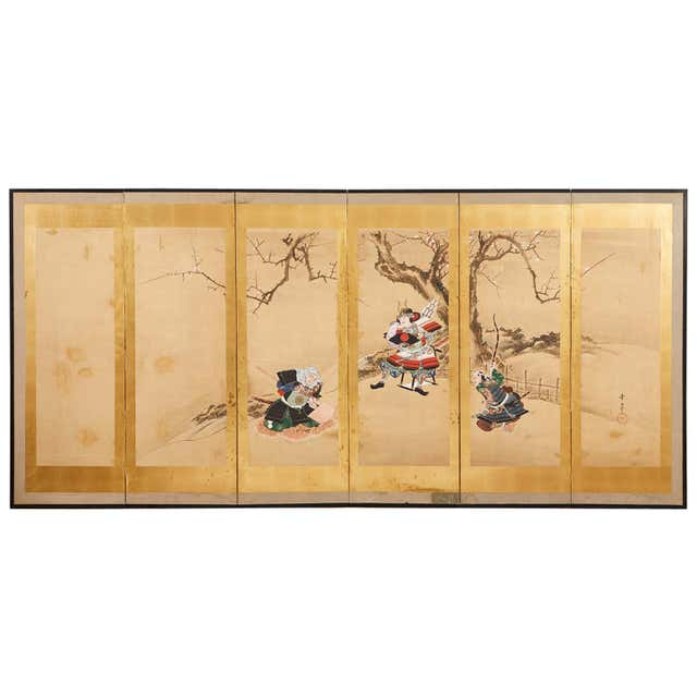 Japanese Edo Six Panel Screen Yoshitsune and Benkei