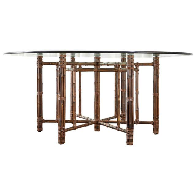 McGuire California Modern Hexagonal Bamboo Round Glass Dining Table