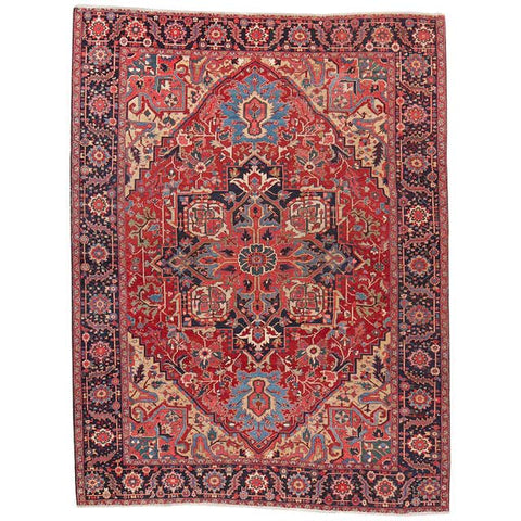 Semi Antique Persian Heriz Wool Rug