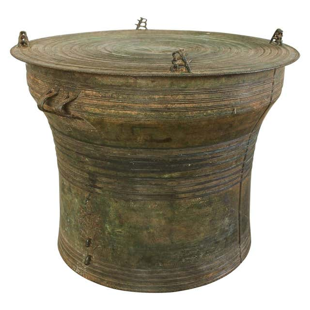Southeast Asian Bronze Rain Drum or Frog Drum Table