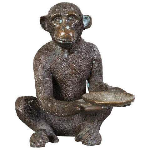 Bronze Monkey Sculpture with Dish