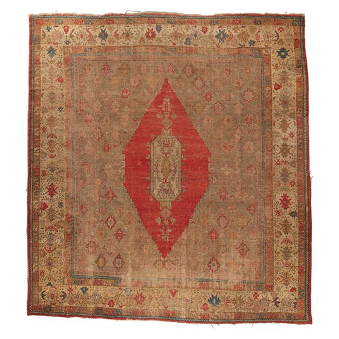 19th Century Antique Turkish Oushak Rug