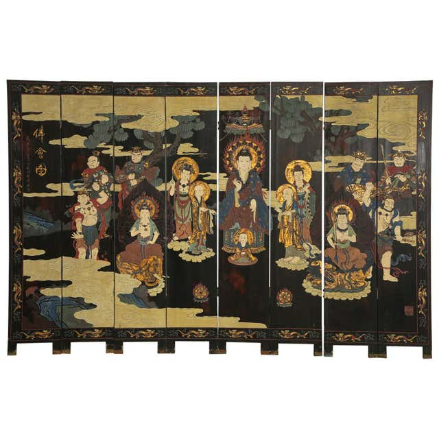Chinese Export Eight Panel Coromandel Screen of Deities