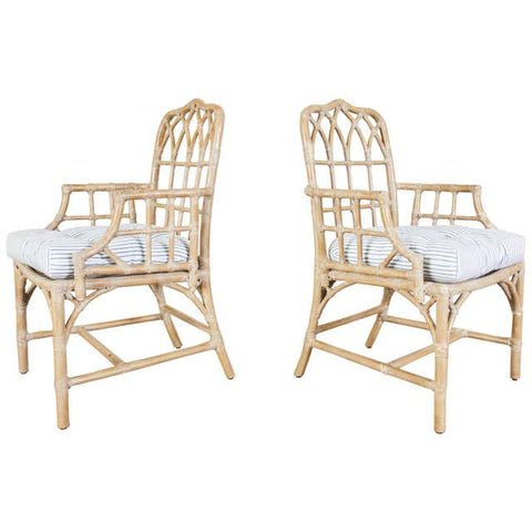 Pair of McGuire Organic Modern Bamboo Rattan Dining Armchairs