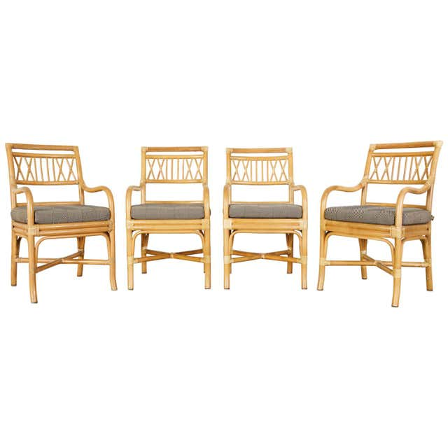 Set of Four McGuire Style Bamboo Rattan Dining Armchairs