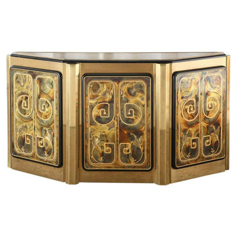 Bernhard Rohne for Mastercraft Brass Greek Key Cabinet Credenza