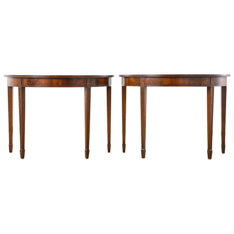Pair of English Georgian Style Mahogany Demilune Console Tables
