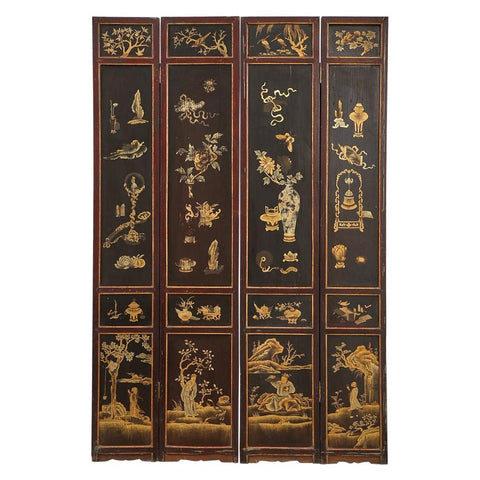 Chinese Qing Four Panel Lacquered Incised Coromandel Screen