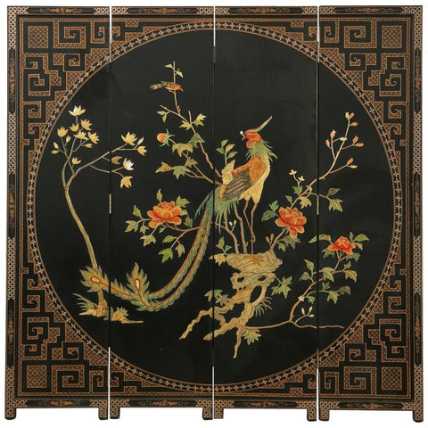 Chinese Export Coromandel Screen Carved Mother of Pearl Phoenix
