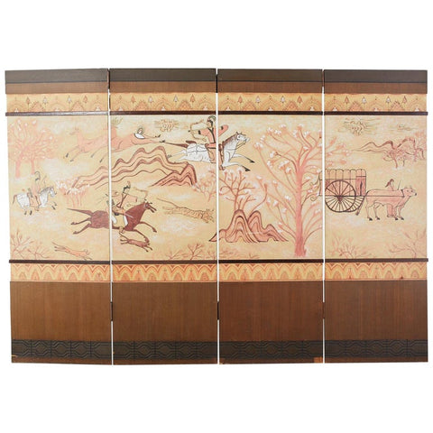 Mongolian Four Panel Hunting Screen from Korea