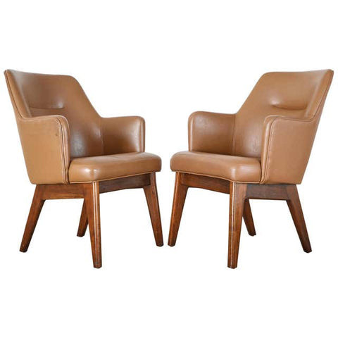 Pair of Mid-Century Modern Style Walnut Lounge Chairs