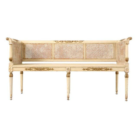 Neoclassical Directoire Style Painted Caned Settee Bench Seat