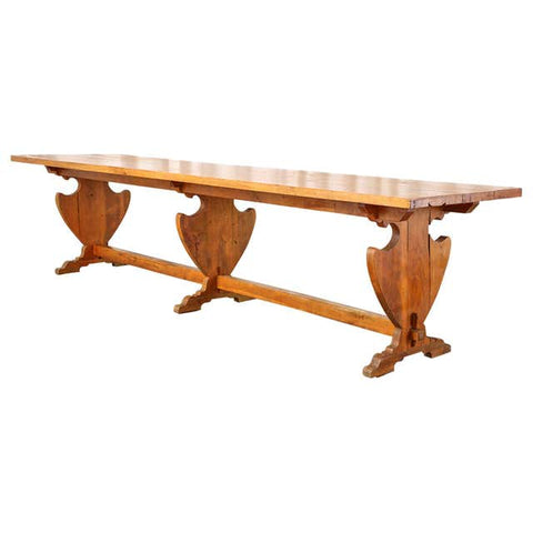 Country French Provincial Oak Trestle Dining Table