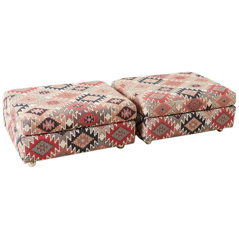 Pair of Geometric Kilim Style Upholstered Ottomans