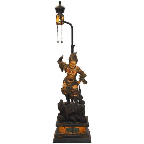 Polychrome Carved Warrior Figure Table Lamp