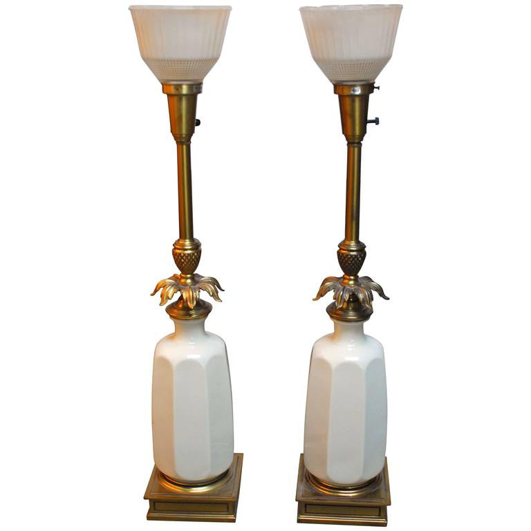 Hollywood Regency Lenox Porcelain and Brass Stiffel Lamps
