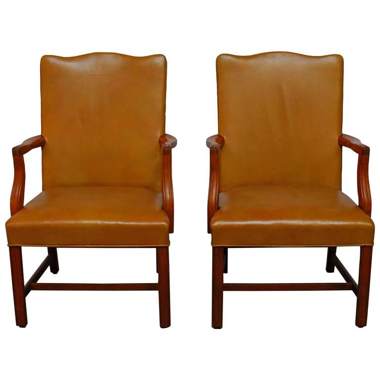 Pair of Chippendale Library Chairs
