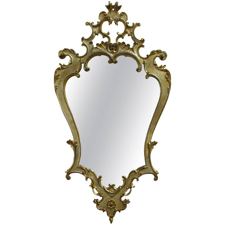 LaBarge Silvered Giltwood Rococo Mirror