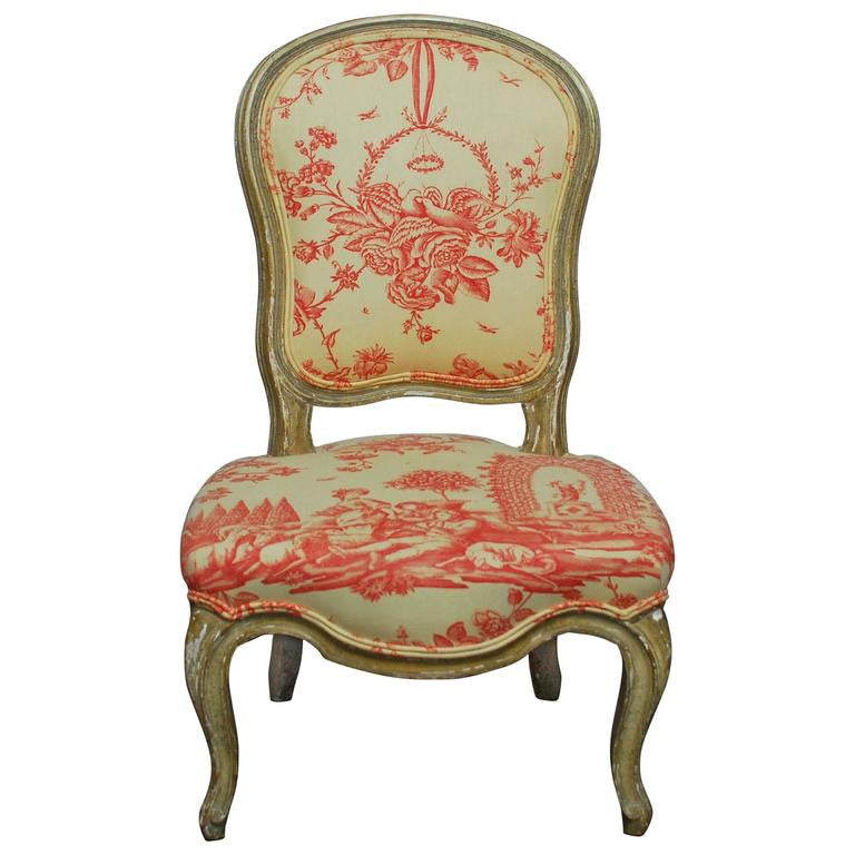 19th Century Louis XV Toile Slipper Chair