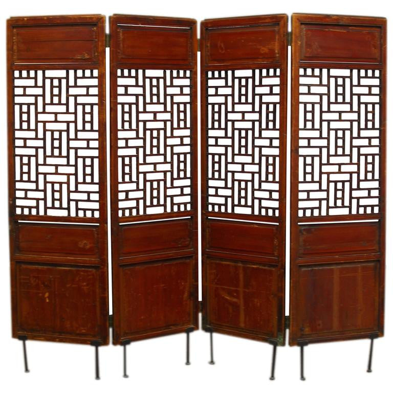 19th Century Lattice Panel Screen