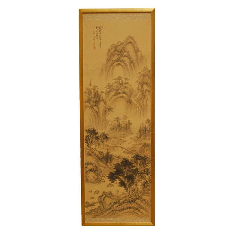 Chinese Mountain Landscape On Linen Gilt Panel