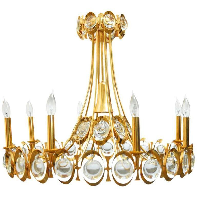 Eight-Light Modernist Gilded Brass Chandelier by Palwa