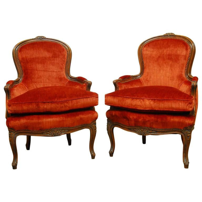 Pair of Louis XV Carved Sienna Velvet Bergeres