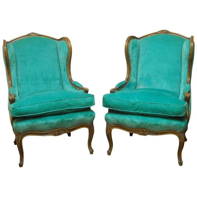 Pair of Louis XV Style Turquoise Velvet Wingback Bergères