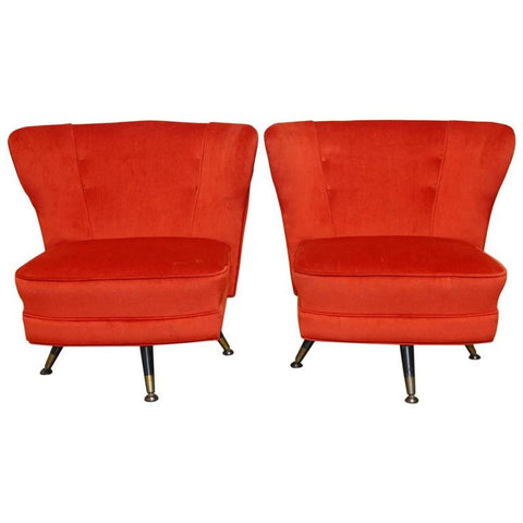 Pair of Mid-Century Theo Ruth Style Velveteen Swivel Lounge Chairs