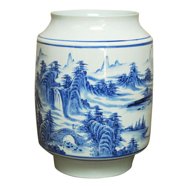 Vintage Chinese Blue and White Ceramic Planter Jar