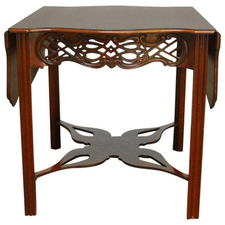 Baker Chinese Chippendale Mahogany Drop Leaf Table Erin Lane Estate