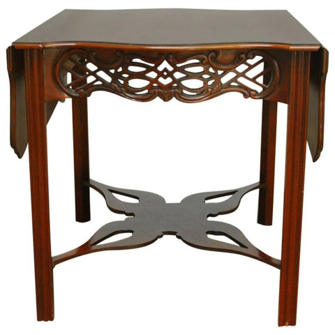Baker Chinese Chippendale Mahogany Drop Leaf Table