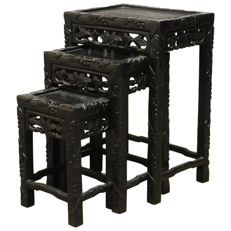Set of Three Chinese Ebonized Nesting Tables