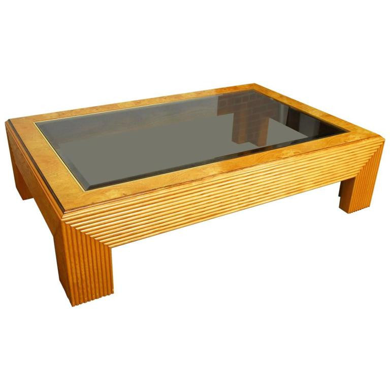 Monumental Art Deco Coffee Table with Burl Wood and Glass