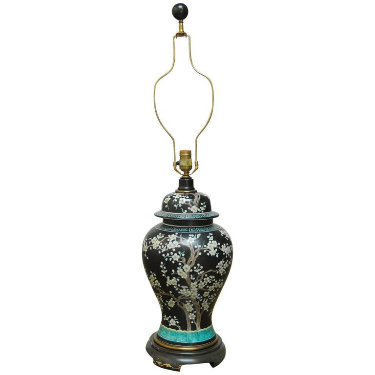 Chinese Porcelain Famille Noir Ginger Jar Lamp by Paul Hanson