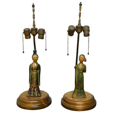 Pair of Tang Pottery Figures Mounted as Table Lamps