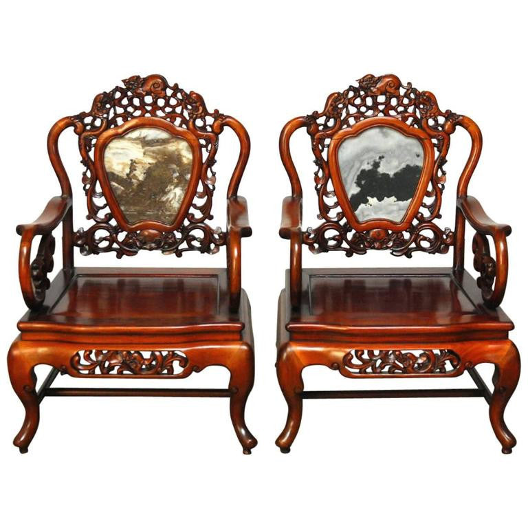 Pair Of Chinese Rosewood And Marble Dali Carved Armchairs