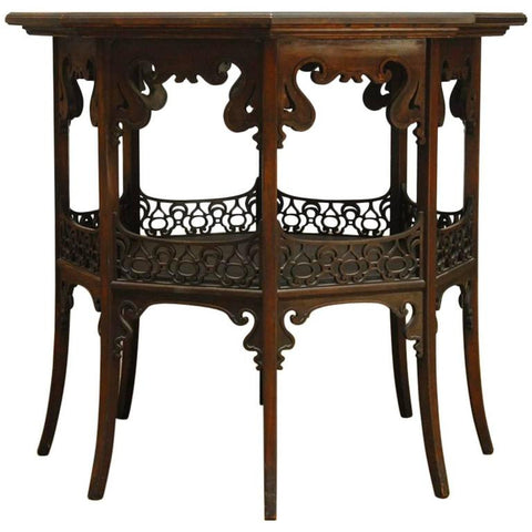 Middle Eastern Octagonal Table With Relief Carved Top