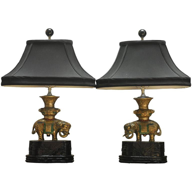 Pair of Thai White Brass Elephant Table Lamps