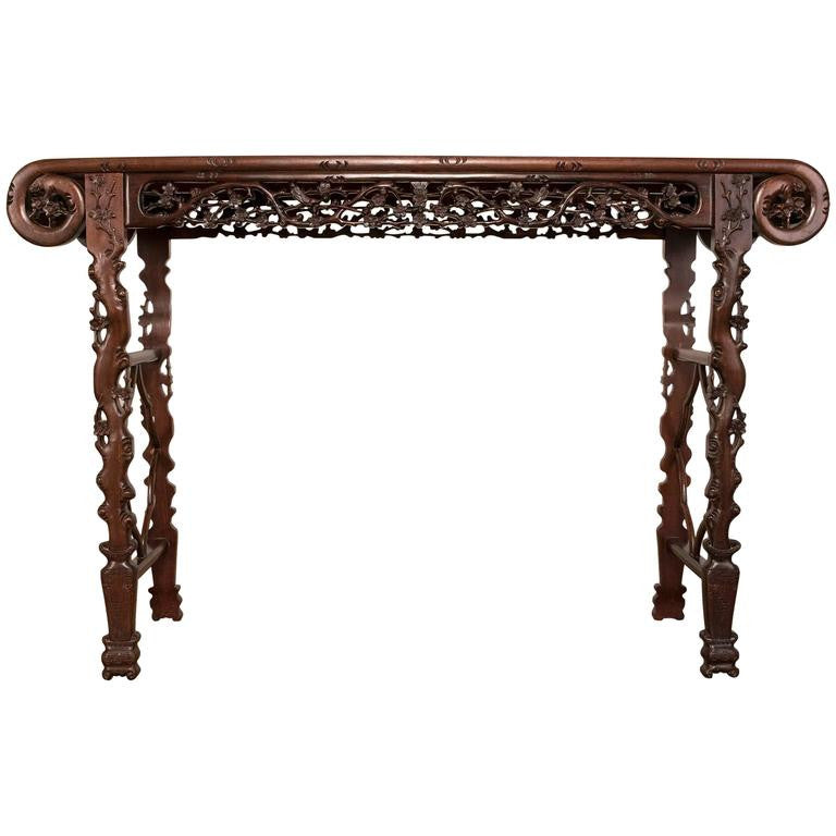 Amazing Chinese Rosewood Huali Carved Altar Table