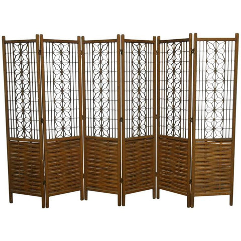 Mid-Century 6 Panel Folding Geometric Screen