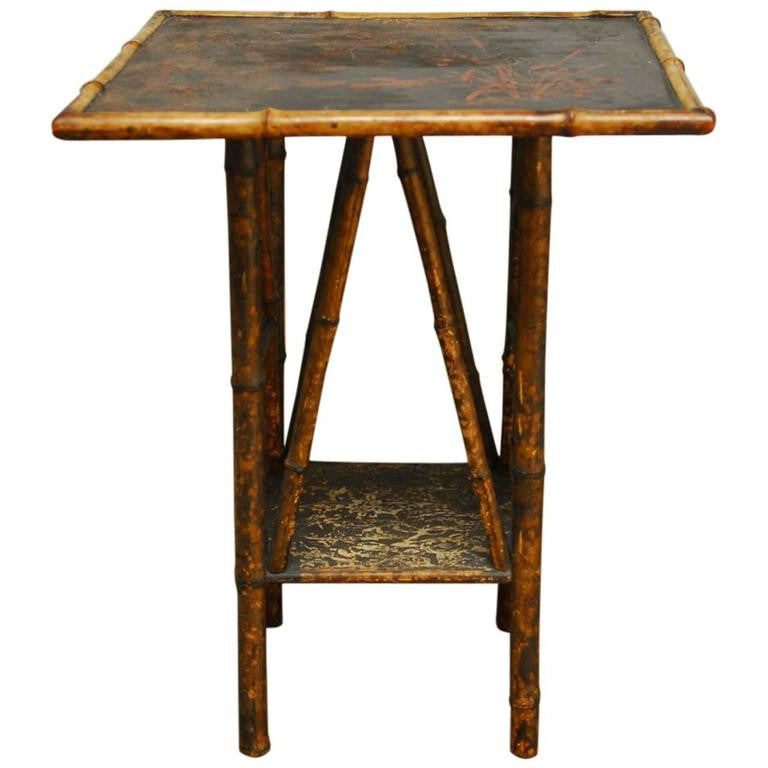 English Scorched Bamboo Chinoiserie Table