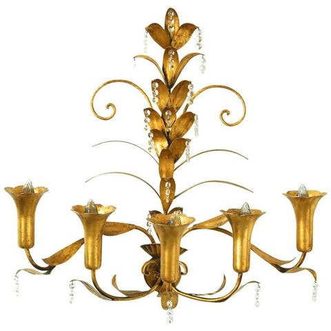Mid-Century Gilded Five-Arm Tulip Sconce