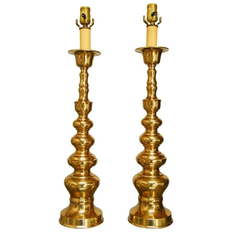 Pair of Brass Pagoda Lamps in the Manner of James Mont