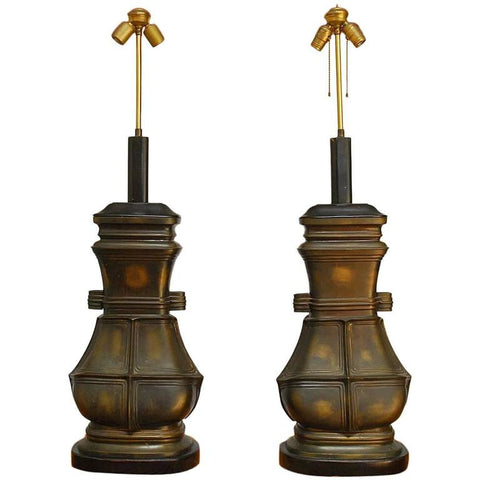 Pair of Monumental Chinese Bronze Vessel Table Lamps