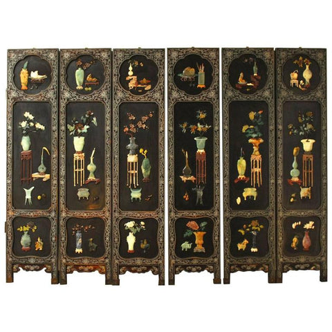 Six-Panel Chinese Lacquered and Jade Hardstone Screen