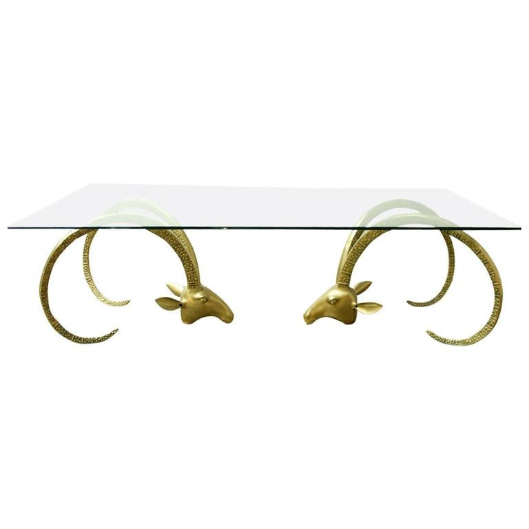 Large Brass Ibex Ram's Head Coffee Cocktail Table