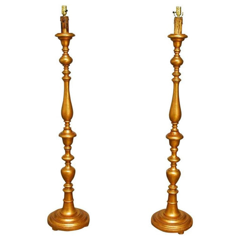 Pair of Tall Italian Giltwood Candlestick Floor Lamps