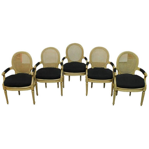 Set of Five Louis XVI Style Cane Fauteuil Armchairs
